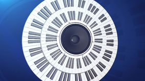 Piano keys in a circle over an audio monitor. 3d rendering of abstract grand piano keys in a circle over an audio monitor. Music concept stock illustration