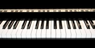 Piano keys close up with black and white keyboard. With space for copy stock photo