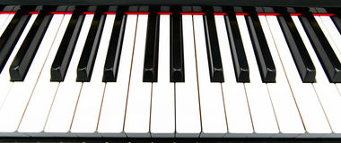 Piano keys. Close-up of piano keys. close frontal view stock image