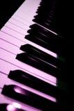 Piano Keys Closeup. Closeup of piano keys with stage lighting reflecting Stock Photo