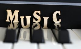 Piano keys closeup with the letters music. Object Royalty Free Stock Images