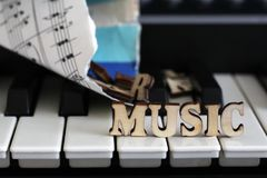 Piano keys closeup with the letters music. Object Royalty Free Stock Photos