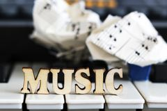 Piano keys closeup with the letters music. Object Stock Image