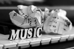Piano keys closeup with the letters music. Object Royalty Free Stock Photo