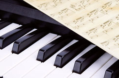 Piano keys closeup, music Stock Image