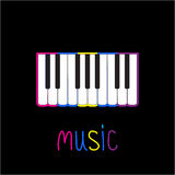 Piano Keys with colorful stroke  and word Music. Card Royalty Free Stock Photography
