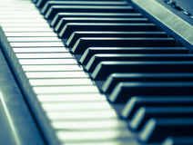 Piano keys in cool tone Royalty Free Stock Photos