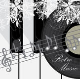 Piano Keys, Disc And Notes. Retro Music Background Royalty Free Stock Photo