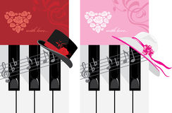 Piano keys and female hat. Romantic music Royalty Free Stock Images
