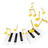 Piano keys and gold notes Stock Images