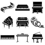 Piano and keys icons. Set Royalty Free Stock Photo