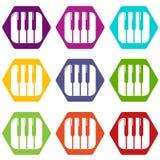 Piano keys icons set 9 vector. Piano keys icons 9 set coloful isolated on white for web Royalty Free Stock Photo