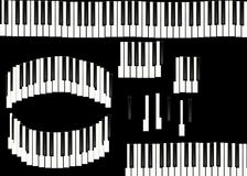 Piano keys isolated on black background Stock Photos