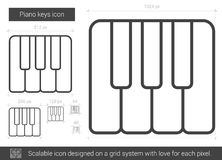 Piano keys line icon. Piano keys vector line icon isolated on white background. Piano keys line icon for infographic, website or app. Scalable icon designed on Royalty Free Stock Photography