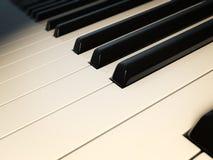 Piano keys macro. 3d render of a retro piano keyboard Stock Photography