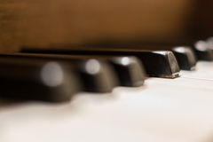 Piano keys macro - vintage piano  closeup Royalty Free Stock Photos