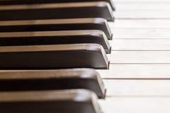 Piano keys macro - vintage piano  closeup Royalty Free Stock Photo