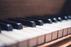 Piano keys macro - vintage piano  closeup Stock Image