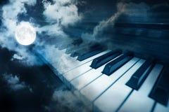 Piano keys in moonlight Royalty Free Stock Photography