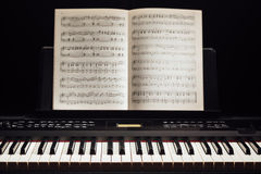 Piano keys and music book Stock Image