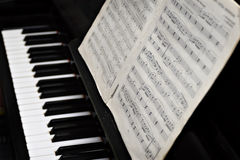 Piano, keys and music copy-book Royalty Free Stock Photo