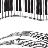 Piano keys and music notes. Illustration of piano keys and music notes - hand drawn style Stock Photo
