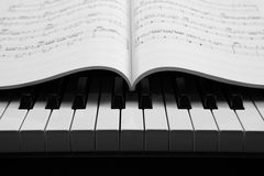 Piano keys and musical book Stock Photos