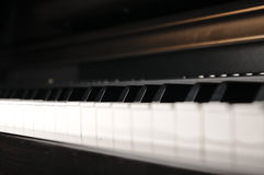 Piano keys. Musical instrument on stage. Royalty Free Stock Image