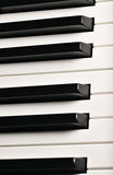 Piano keys. Musical instrument on stage. Royalty Free Stock Photo