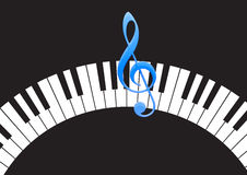 Piano keys with note Stock Photo