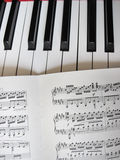 Piano keys with notes, musical background. Royalty Free Stock Images