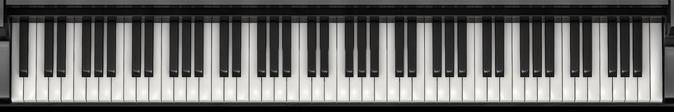Piano keys panorama Stock Photos