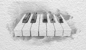 Piano Keys on the Paper. Brush abstract piano keys on the cardboard paper background Stock Photography