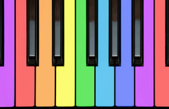 Piano keys in rainbow colors. Tutorial, educational instructor's illustration: colorful piano keys, keyboard, different notes in rainbow colors for easy Stock Image