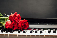 Piano keys and red rose with copy-space Stock Photography
