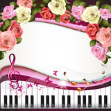 Piano keys and roses Stock Photos