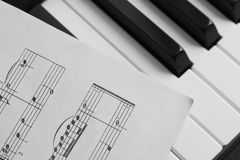 Piano keys and score monochrome Royalty Free Stock Photo