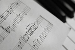 Piano keys and score monochrome Royalty Free Stock Images