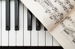 Piano Keys And Sheet Music From Above Stock Photo Image Of Keybed