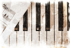 Piano keys with sheet music Royalty Free Stock Images
