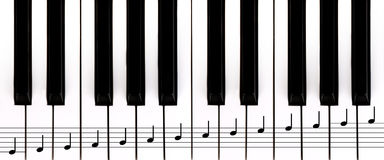 Piano keys and staff Stock Photos