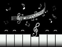 Piano Keys with Staff and Notes Royalty Free Stock Photography