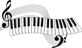 Piano Keys. And stave in vector format Royalty Free Stock Photo