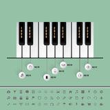 Piano keys timeline with set of icons Royalty Free Stock Photos
