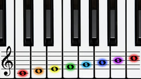Piano keys, treble clef on stave, colored notes. Tutorial, educational instructor's illustration: attractive and joyful piano keys, keyboard, notes in rainbow stock images