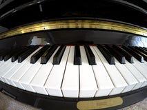 Piano Keys. Wide angle fish eye lens image of black and white piano keys Stock Image