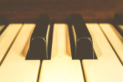 Piano keys, Zoom in , vintage style Stock Photography