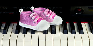 Piano Kids Practice. Royalty Free Stock Image