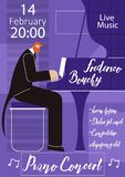 Piano Live Concert Flat Vector Poster Template. Piano Music Live Concert Flat Vector Promotion Banner, Advertising Poster, Flyer or Invitation Card Design stock illustration