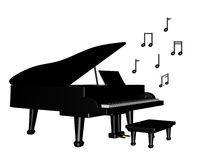 Piano magnífico con las notas musicales stock de ilustración